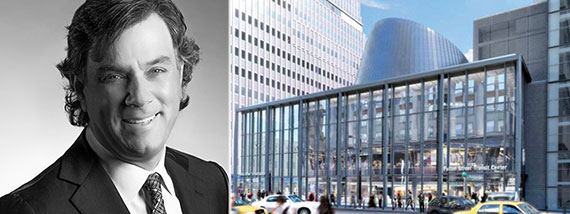From left: Westfield's Peter Lowy and rendering of Fulton Center