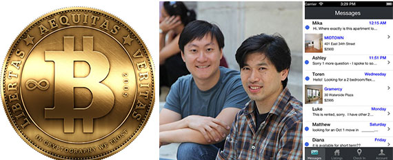 From left: BitCoin,  RentHop's Lawrence Zhou and Lee Lin, and a screenshot of the RentHop app