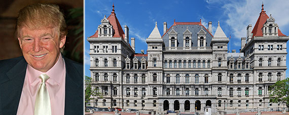 From left: Donald Trump and the New York State Capitol in Albany