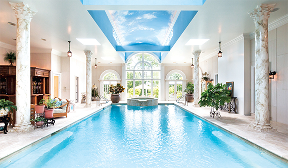 The indoor pool inside a $15.9 million Upper Brookville home, Nassau County's priciest listing