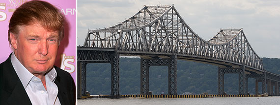 From left: Donald Trump and the Tappan Zee Bridge