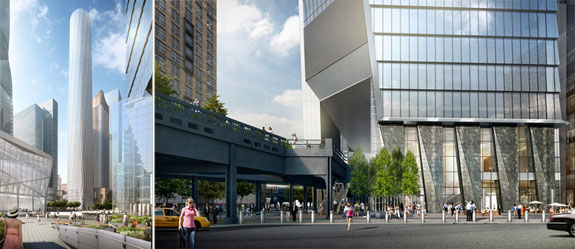 From left: 35 Hudson Yards and 10 Hudson Yards' 10th Avenue entrance
