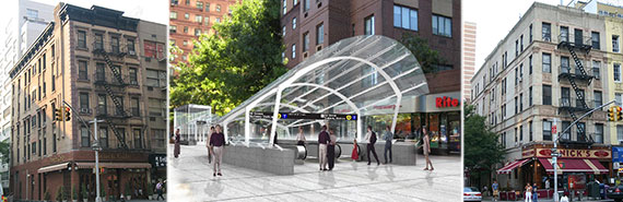 From left: 1326 Second Avenue, rendering of the new 96th Street subway station and 1814 Second Avenue