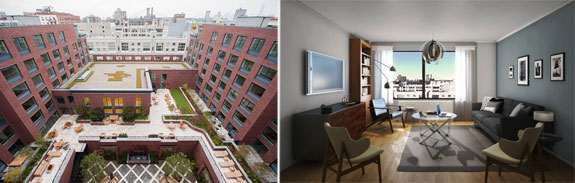 From left: a courtyard and an interior at 50 N. 5th Street