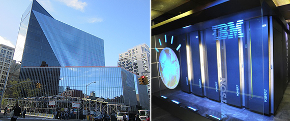 From left: 51 Astor Place and IBM's Watson Computer