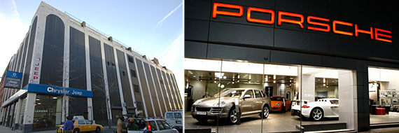 From left: 711-719 Eleventh Avenue and a Porche showroom in Doha, Qatar
