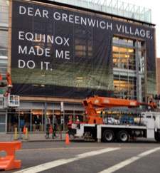 Equinox sign at 97 Greenwich Avenue