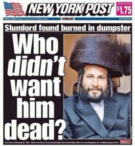The New York Post cover story on the Menachem Stark murder