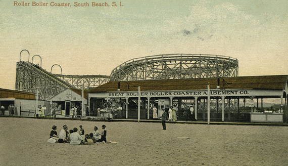 Vintage postcard of the Great Roller Boller Coaster Amusement Co. on South Beach, Staten Island (Credit: NYPL)