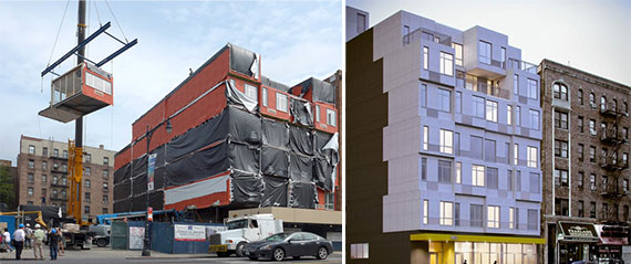 Construction of the Stack at 4555 Broadway and a rendering of the building