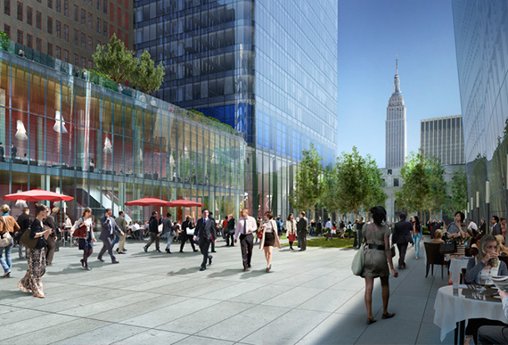 Rendering of part of Manhattan West's public space (Credit: Curbed)