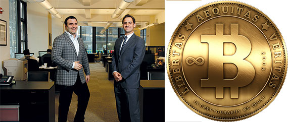 From left: BOND New York's co-founders Bruno Ricciotti and Noah Freedman and the Bitcoin logo
