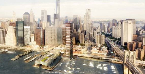 A rendering of the South Street Seaport redevelopment