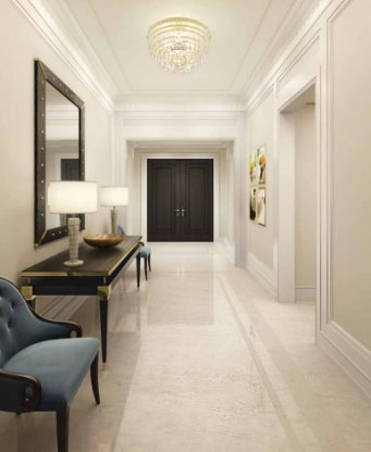 A rendering of a hallway at 33 East 74th Street