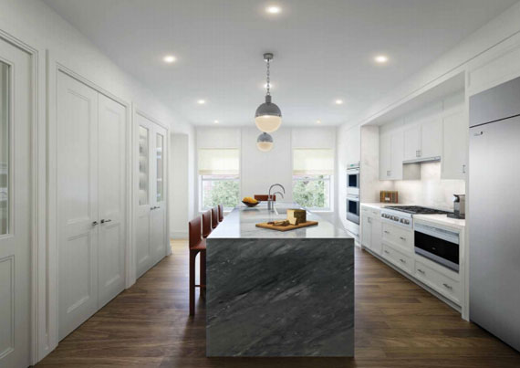A rendering of a kitchen at 33 East 74th Street