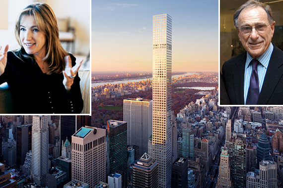 From left: Susan de Franca, a rendering of 432 Park Avenue (Credit: DBOX for CIM Group & Macklowe Properties) and Harry Macklowe
