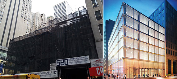 From left: 520 Fifth Avenue now and a rendering of 520 Fifth Avenue