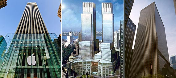From left: 767 Fifth Avenue, 10 Columbus Circle and 1211 Sixth Avenue