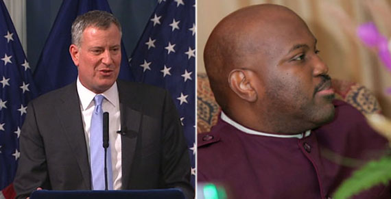 From left: Mayor Bill de Blasio and Bishop Orlando Findlayter