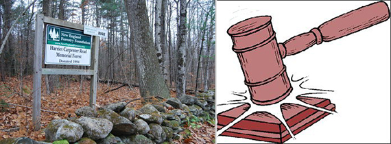 From left: Parcel of New England owned land and a gavel