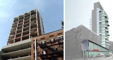 From left: Allen Street hotel under construction and a rendering of the final project