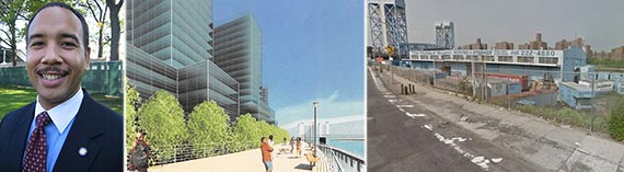 From left: Ruben Diaz Jr., rendering of the proposed waterfront redevelopment and the area as it looks now