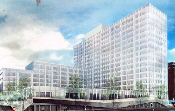 Rendering of Two Trees' Dock Street development in Dumbo