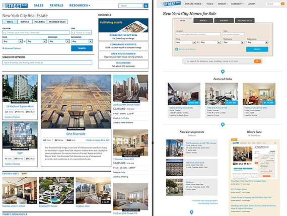 The new version of StreetEasy's home page (left) and the old version (right)