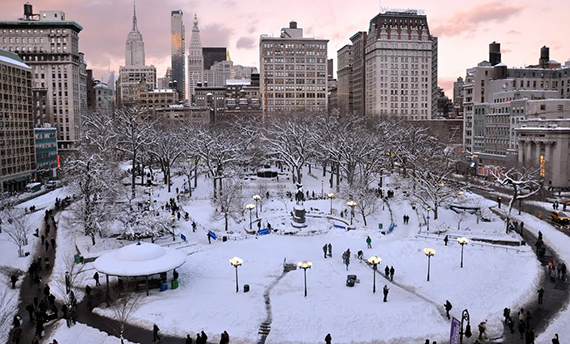 Union Square in the snow