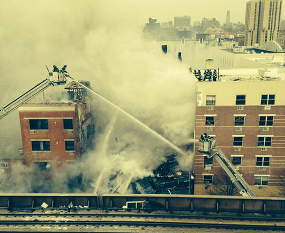 The scene on March 12 at 1644-1646 Park Avenue in East Harlem (Credit: FDNY via Twitter)