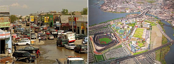 From left: Willets Point auto repair shops and a rendering of the planned Willets Point redevelopment