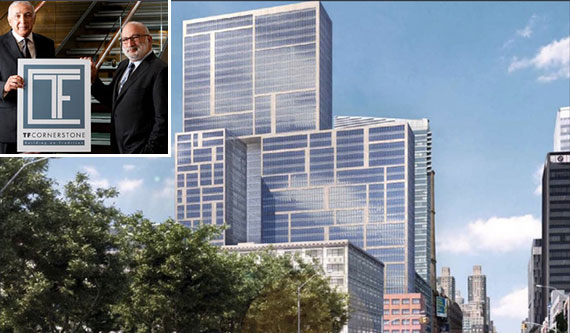 From top left: Thomas and Fred Elghanayan and a rendering of 606 West 57th Street