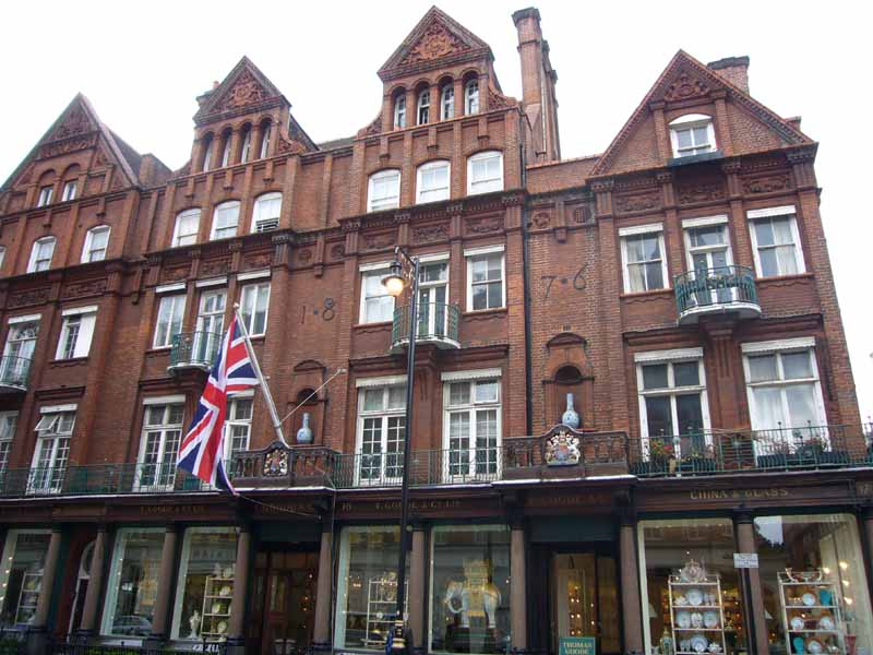 Shops in London's Mayfair neighborhood