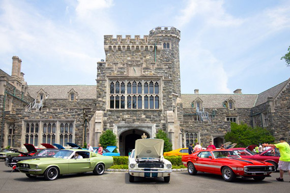 Vintage cars on display in Sands Point, Long Island, one of America's wealthiest neighborhoods.