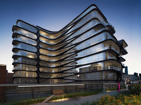 A rendering of Zaha Hadid's building at 520 West 28th Street