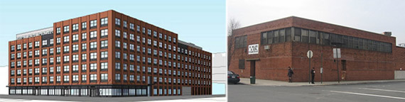 From left: Rendering of 1133 Manhattan Avenue in Brooklyn and former structure