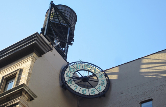 The new clock atop 127 Fourth Ave.