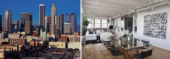 From left, Downtown Los Angeles, a loft apartment in the neighborhood