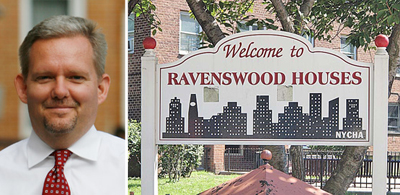 From left, Councilman Jimmy Van Bramer, Ravenswood Houses