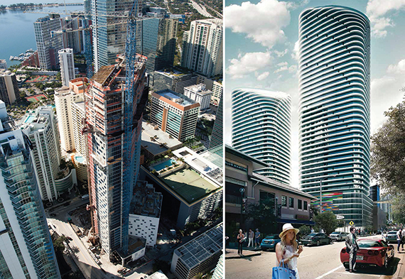 From left: construction on BrickellHouse and a rendering of Brickell Heights