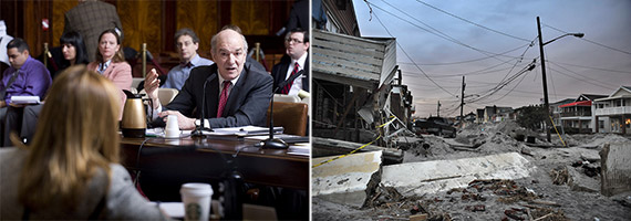From left: Director of OMB Mark Page (Credit: William Alatriste) and Queens homes damaged by Hurricane Sandy (Credit: Shutterstock)