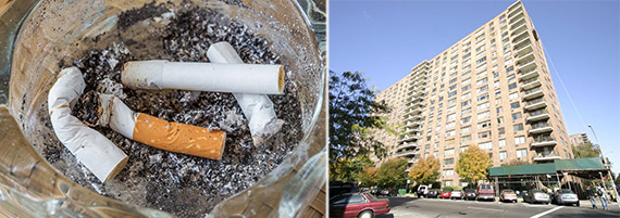 From left: Cigarette butts and 342 Central Park West