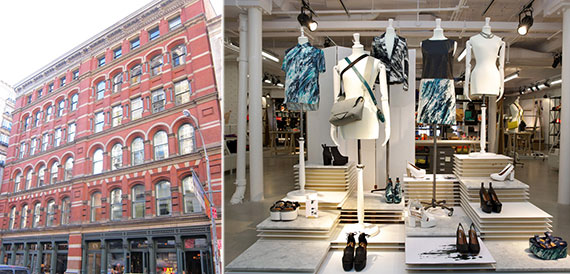 From left: 142 Mercer Street and the interior of an & Other Stories shop
