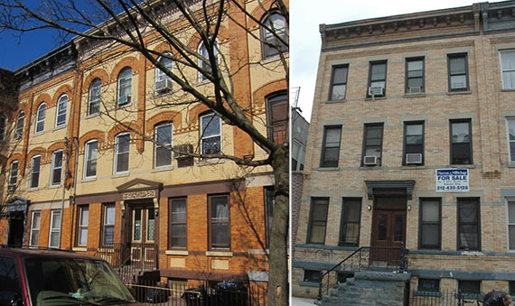 From left: 18-21 Cornelia Street and 1726 Woodbine Street in Ridgewood