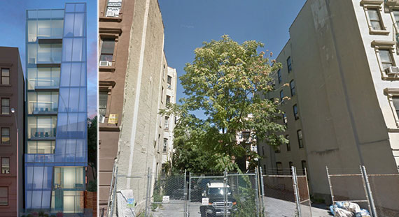 From left: Rendering of 315 West 121st Street (Source: Soluri Architecture) and the site now