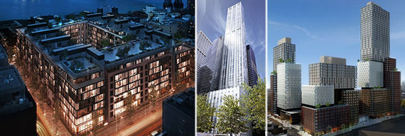 From left: Renderings of 429 Kent Avenue, 610 Lexington Avenue and Atlantic Yards (Credit: SHoP Architects)