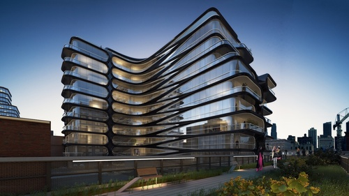 Rendering of Zaha Hadid-designed 520 West 28th Street