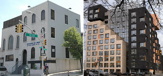 From left: 635 Fourth Avenue now and a rendering of the rental building planned for the site