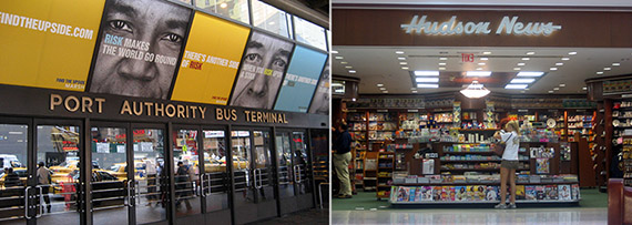From left: Port Authority Bus Terminal, Hudson News