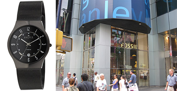 From left: a Skagen watch and 1585 Broadway